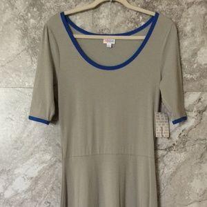 LULAROE L Ana Grey Blue Dress Maxi Long Dress
